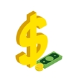 American dollars icon isometric 3d style vector image vector image