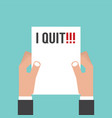 and holding envelope with text i quit job vector image vector image