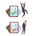 approved and rejected visa applications vector image