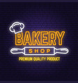bakery shop neon bright signboard light banner vector image vector image