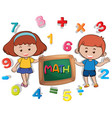 boy and girl with many numbers vector image vector image