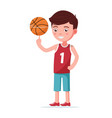 boy basketball player spin ball on finger vector image vector image