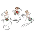 Brides or bridesmaids in classic wedding outfits vector image vector image