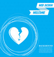 broken heart icon on a blue background with vector image