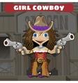 Cartoon character of Wild West - girl cowboy vector image vector image