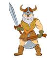 cartoon image of viking warrior vector image vector image