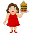 Cartoon overweight woman holding fast food vector image vector image