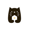 cat house home negative space logo icon vector image
