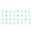 christmas tree simple color line icons set vector image vector image