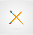 crossed pencil and paintbrush with shadow vector image vector image