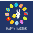 Cute bunny rabbit and chicken Round egg frame vector image vector image