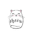 cute cat print design meow lettering text vector image vector image