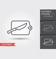 cutting board with knife line icon with editable vector image vector image