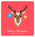 Deer with Christmas balls on red background vector image vector image