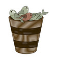 fishes in bucket vector image vector image