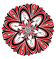 floral black and red round ornament vector image vector image
