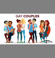 gay lesbian couple set hugging men and vector image