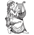 girl playing lyre black white vector image