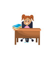 girl student sitting in the wood desk vector image