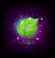 green fresh leaf with sparkles icon for slot vector image