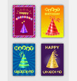 happy birthday collection of celebration cards vector image vector image