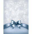 Holiday blue background with gift glossy bow and vector image vector image