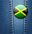Jamaica Flag Badge On Jeans Denim Texture vector image vector image