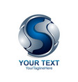 letter s logo design template colored silver blue vector image vector image