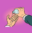 man hand pours out pills vector image