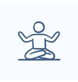 Man meditating in lotus pose sketch icon vector image vector image