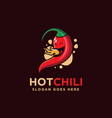mascot cartoon hot fire chili logo vector image
