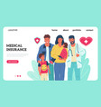 medical insurance landing page clinical accident vector image