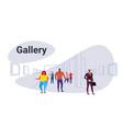 mix race people looking modern art gallery vector image