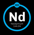 Neodymium chemical element vector image vector image