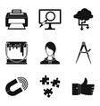 networking icons set simple style vector image vector image