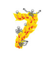 number 7 hellish flames and sinners font fiery vector image vector image