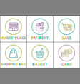 online shopping buttons round linear templates set vector image vector image
