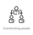 outline coordinating people icon isolated black vector image vector image