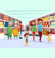 people family shopping in supermarket vector image