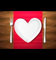 plate shape heart knife fork wood texture vector image