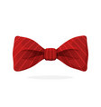 red bow tie with print in diagonal stripes vector image vector image