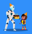 robot with birthday cake in hands at celebration vector image