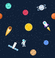 seamless background of space objects planets vector image