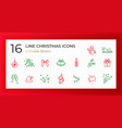 set christmas icons thin line vector image