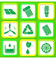 Set of 9 retro icons of renewable energy vector image
