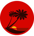 silhouette a palm trees at sunset vector image vector image