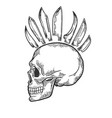 skull with mohawk hairstyle engraving vector image vector image