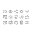 social media line icons share network like thumbs vector image vector image