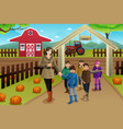 teacher with students on a pumpkin patch trip vector image