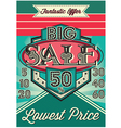 template vintage poster for the big sale vector image vector image
